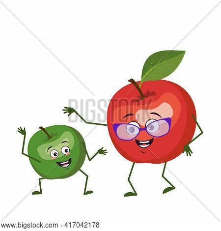 Cute Apple Characters Funny Grandmother And Grandson, Arms And Legs. The Funny Or Happy Hero, Green