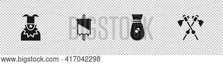 Set Joker Head, Medieval Flag, Old Money Bag And Crossed Medieval Axes Icon. Vector