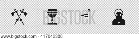 Set Crossed Medieval Axes, Medieval Goblet, Flag And Monk Icon. Vector
