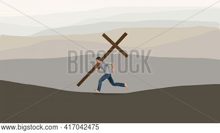 A Young Man Runs While Carrying A Large Wooden Cross In Front Of  A Series Of Hills In The Backgroun