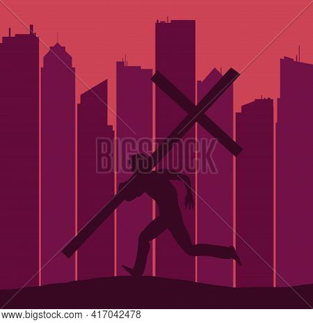 A Silhouetted Figure Carring A Large Cross Runs On A Ridge With A Skyline Of A Major City Seen In Th