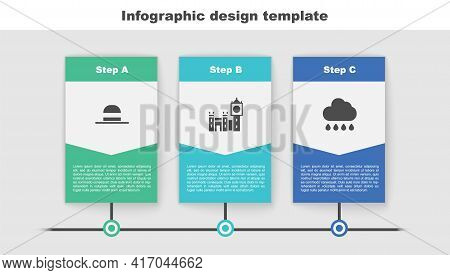 Set Elegant Women Hat, Big Ben Tower And Cloud With Rain. Business Infographic Template. Vector