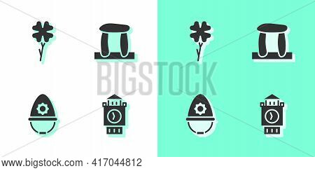 Set Big Ben Tower, Four Leaf Clover, British Police Helmet And Stonehenge Icon. Vector