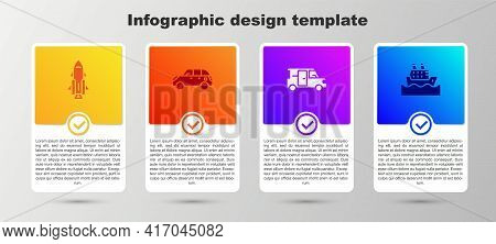 Set Rocket Ship With Fire, Hatchback Car, Minibus And Cruise. Business Infographic Template. Vector