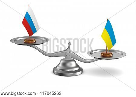 parley between Russia and Ukraine white background. Isolated 3D illustration