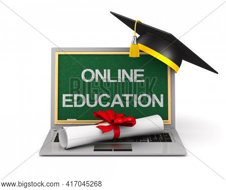 diploma, laptop and graduation cap on white background. Isolated 3D illustration