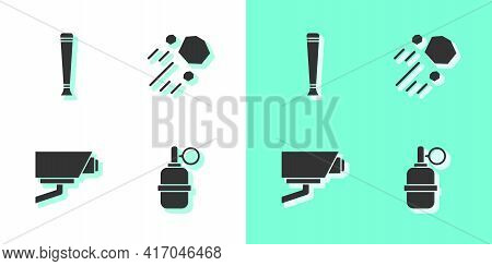 Set Hand Grenade, Police Rubber Baton, Security Camera And Flying Stone Icon. Vector