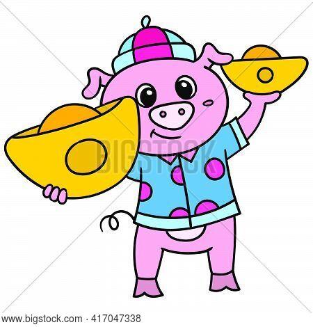 Lunar Celebration Pigs Carrying Treasures Of Gold Bullion, Doodle Draw Kawaii. Vector Illustration A