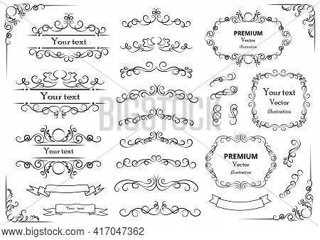 Decorative Swirls Or Scrolls, Vintage Frames , Flourishes, Labels And Dividers. Retro Vector Illustr