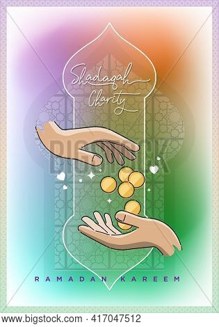 Shadaqah Charity Icon On Colourfull Background. Shadaqah Means Donation.