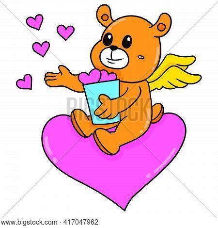 Winged Bear Celebrating Valentine Romance, Doodle Draw Kawaii. Vector Illustration Art