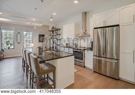 Detroit, Michigan - Usa - April 10, 2021: American Style Kitchen Has Been Recently Remodeled With Mo