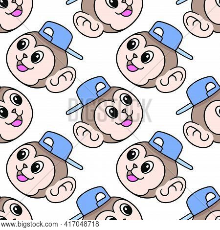 Smile Monkey Male Seamless Pattern Textile Print. Great For Summer Vintage Fabric, Scrapbooking, Wal