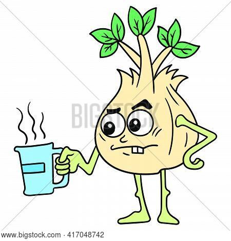 Tuber Plants Are Brewing Hot Herbal Drinks With Medicinal Properties. Vector Illustration Art, Doodl