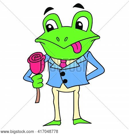 A Well Dressed Romantic Frog Carrying A Rose Is Ready For A Date. Vector Illustration Art, Doodle Ic