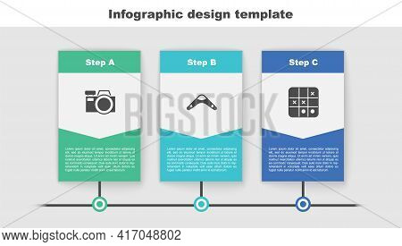 Set Photo Camera, Boomerang And Tic Tac Toe Game. Business Infographic Template. Vector