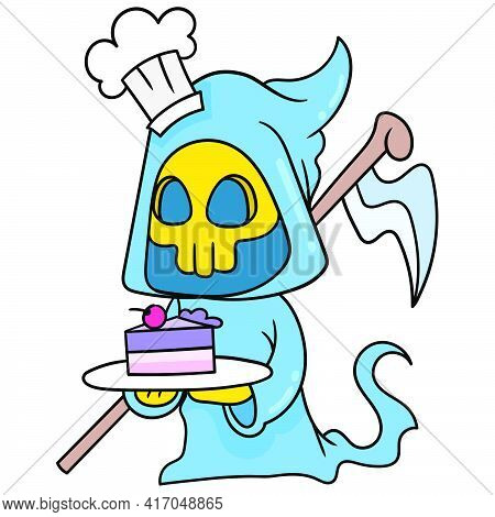 Ghost Angel Of Death Halloween Brings Sweet Cake To Serve, Doodle Draw Kawaii. Vector Illustration A