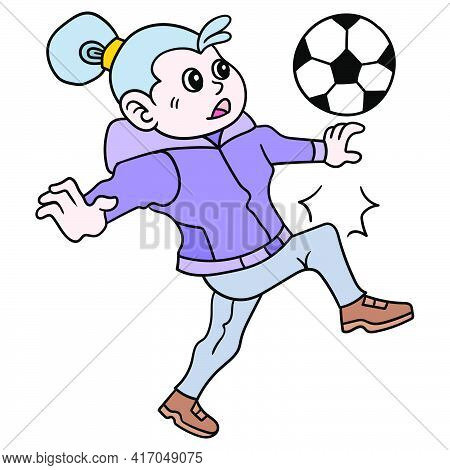 The Female Soccer Player Will Do The Somersault. Vector Illustration Art, Doodle Icon Image Kawaii.