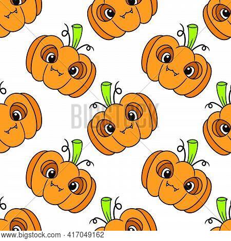 Halloween Spooky Pumpkin Seamless Pattern Textile Print. Great For Summer Vintage Fabric, Scrapbooki