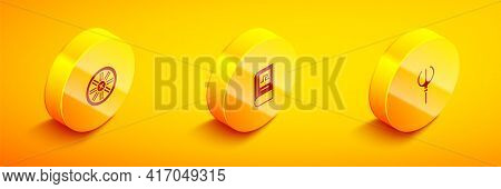 Set Isometric Old Wooden Wheel, Greek History Book And Neptune Trident Icon. Vector
