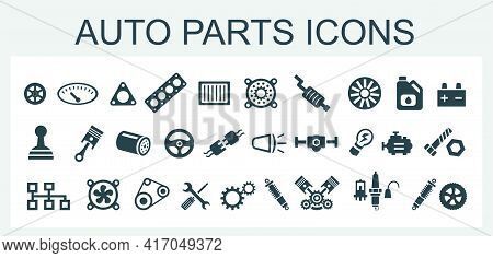 A Set Of Vector Icons And Logos With Car Parts, Batteries, Transmissions, Electrical Equipment, Engi