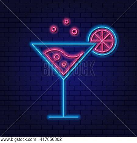 Cocktail Cosmopolitan Neon Design Element. Cocktail With Lime, Lemon. Party Concept. Vector. Drinks