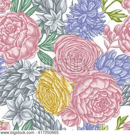 Seamless Pattern With Hand Drawn Pastel Peony, Ranunculus, Wax Flower, Ornithogalum, Hyacinth Stock