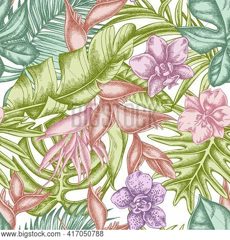 Seamless Pattern With Hand Drawn Pastel Monstera, Banana Palm Leaves, Strelitzia, Heliconia, Tropica