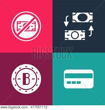 Set Pop Art Credit Card, Bitcoin, Money Exchange And No Money Icon. Vector