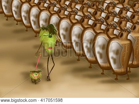 Cartoon Character Hop Cone With A Pet On A Leash Goes In Front Of A Line Of Beer Bottles. Humorous P