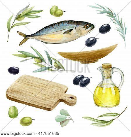 Sea Fish, Herbs, Olives Set. Watercolor Illustration. Mediterranean Tasty Fresh Food Collection. Rea