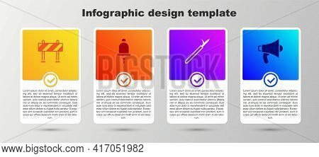 Set Road Barrier, Ringing Alarm Bell, Metal Pike Pole And Megaphone. Business Infographic Template.