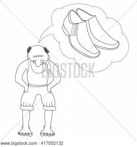 Vector Cartoon Flat Character Conceives, Dreams Of Buying Shoe. Barefoot Man Thinks About Shoes