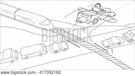 A Person In His Imagination Overcomes Traffic Jam At A Railway Crossing By Air. Monochrome Vector Il