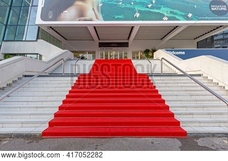 Cannes, France - February 1, 2016: Empty Red Carpet At Famous Festival Hall Louis Lumiere In Cannes,
