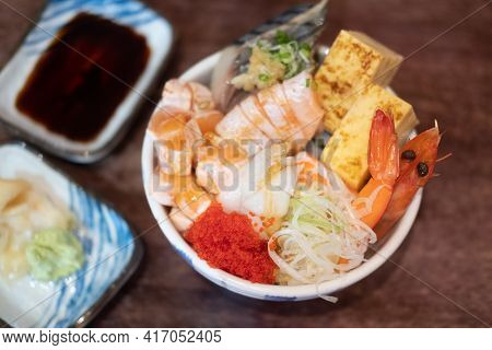 Kaisen-dong Is A Seafood Covered Rice Topped With Seafood And Raw Fish. Japan Food