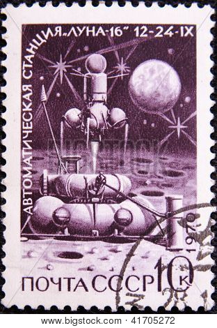 RUSSIA - CIRCA 1970: stamp printed by USSR shows automatic satellite