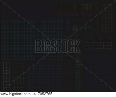 Collection Colorful Cut Short Square In Line Grid Notes, Banners With Vertical And Horizontal Lines