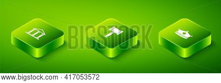 Set Isometric Judge Gavel, Police Cap With Cockade And Courthouse Building Icon. Vector