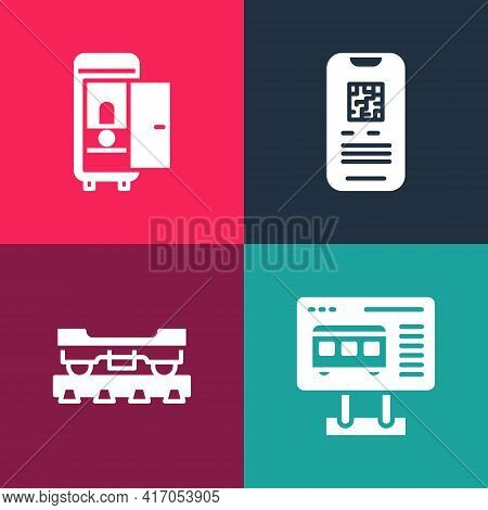 Set Pop Art Ticket Office To Buy Tickets, Cargo Train Wagon, E-ticket And Toilet The Car Icon. Vecto