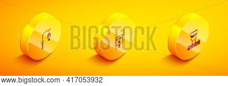 Set Isometric Train Station Bell, Emergency Brake And Conductor Icon. Vector