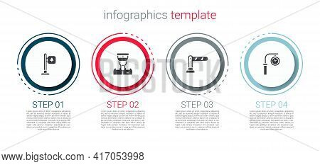 Set Road Traffic Signpost, Train Conductor, Railway Barrier And Station Clock. Business Infographic