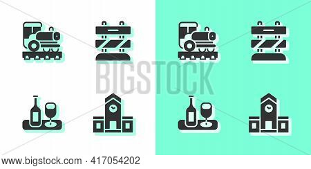 Set Railway Station, Vintage Locomotive, Wine Bottle With Glass And End Of Railway Tracks Icon. Vect