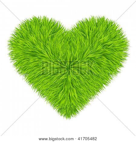 Grüne Gras Herz. Vektor. 10eps
