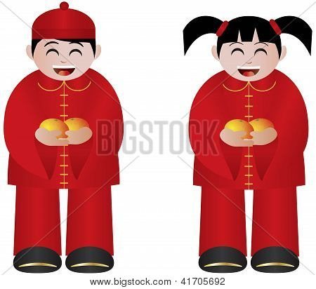 Chinese Boy And Girl With Mandarin Oranges
