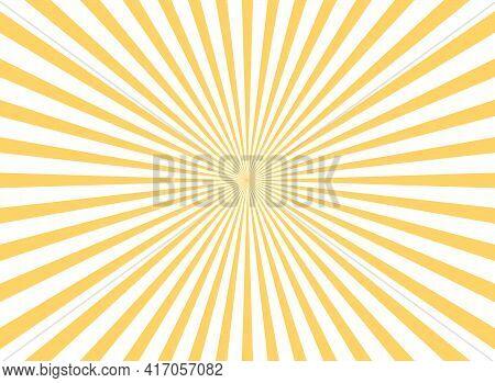 Sunlight Rays Horizontal Background. Bright Orange Color Burst Background. Vector Illustration. Sun