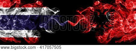 Thailand, Thai Vs Albania, Albanian Smoky Mystic Flags Placed Side By Side. Thick Colored Silky Abst