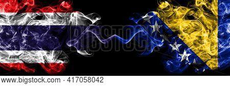 Thailand, Thai Vs Bosnia And Herzegovina, Bosnian, Herzegovinian Smoky Mystic Flags Placed Side By S