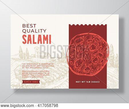 Food Label Template. Abstract Vector Packaging Design Layout. Modern Typography Banner With Hand Dra