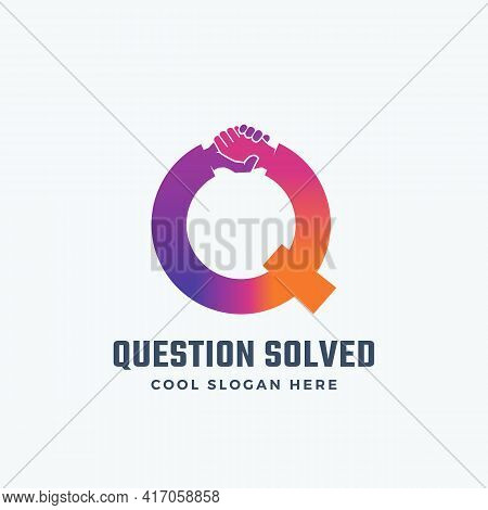 Question Solved Abstract Vector Sign, Symbol Or Logo Template. Hand Shake Incorporated In Letter Q C